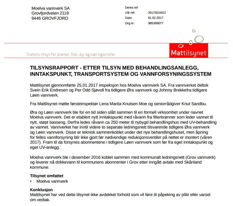 %Vannverket Rapport fra Inspeksjon Mattilsynet 25.01.17